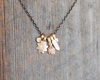 Diamond Charm Necklace - 14k Gold and Sterling Silver - Flower Charm Necklace