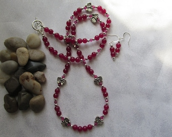 Rose Jade necklace and Ear Rings