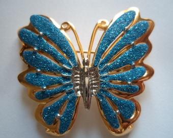 Vintage Goldtone/Blue Sparkling Butterfly Brooch/Pin