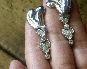 Antique Sterling Feather Pierced Earrings, Dangle Rhinestone OOAK Earrings, Jewelry gift for her