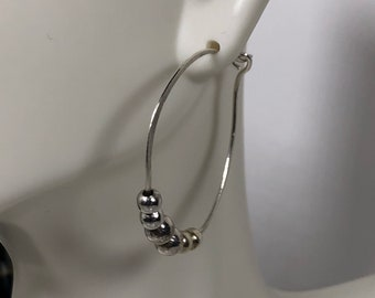 Hoop earrings beaded ,  silver bead earrings, hoops,  free shipping