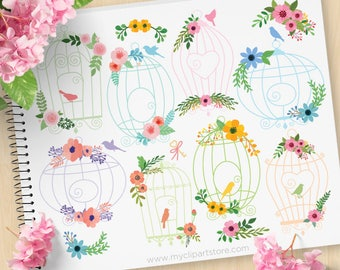 Floral Bird Cages Clipart, Silhouette, Shabby Chic Roses, Farmhouse, Wedding, Spring flowers, Commercial Use, Vector clip art, SVG Cut Files