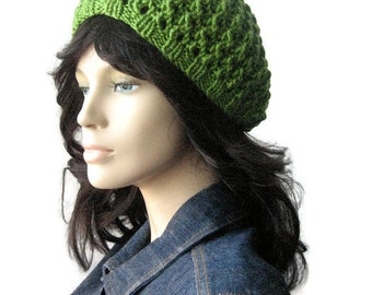 Knit Green Hat, Avocado Green Lace Beanie, Womens Hat, Spring Hat, Lime Green Knit Hat, The Leslie Beanie