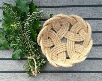 Rope Bowl, Scandinavian Knot, Small Natural Jute Storage Basket,  Rustic Decor. Rope Fruit Bowl. 6 inch diameter.