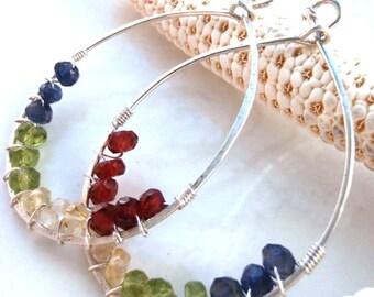faceted garnet, citrine, peridot and iolite & sterling silver 'prism' earrings