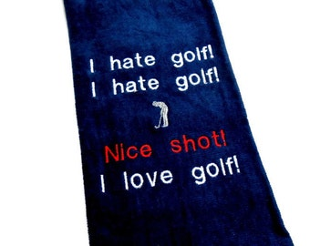 golf towel, funny golf gift, embroidered towel, gift for him, groomsmen gift, custom golf, golfer gift, personalized golf, monogram towel