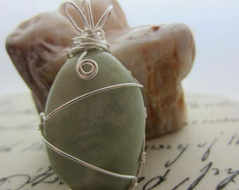 Green Jasper Freeform Silver Plated Wire Wrapped Necklace Pendant OOAK