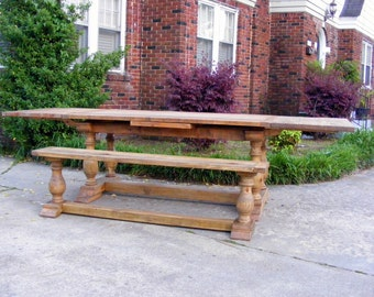 Draw Leaf Extension Dining Table with Matching Bench Handcrafted with an Aged Pine Finish