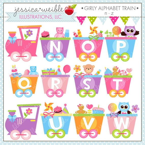 Girly alphabet train n z cute digital clipart for commercial altavistaventures Images