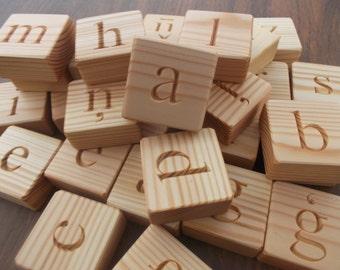 Latvian alphabet, wooden alphabet blocks, lowercase letters, wooden blocks, handmade alphabet, wooden alphabet set, game