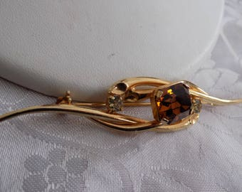 """Vintage brooch, signed """"Austria"""" topaz and clear Austrian crystal elegant sensuous brooch, vintage jewelry"""