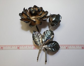 Beautiful Old VIntage, Hecho En Mexico 925 Sterling Silver Rose Brooch 21.1g - Used - Needs Cleaned