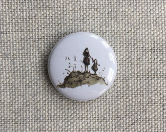 Hilltop. Pin-back Button Badge