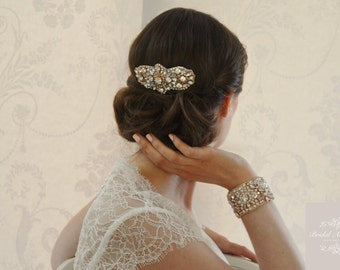 """Rose Gold """"Adelide"""" Crystal and Pearl Bridal Comb"""