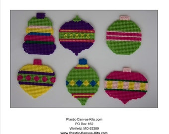 Colorful Christmas Ornaments-Plastic Canvas Pattern-PDF Download