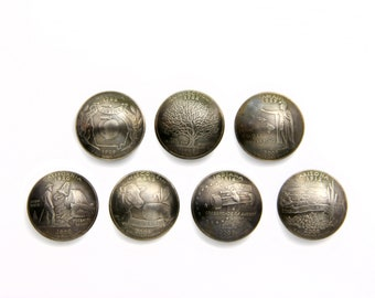 one State quarter magnet rustic, domed, and antiqued