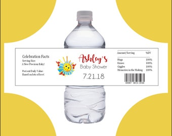 25 You Are My Sunshine Baby Shower water bottle labels - Price includes personalization and printing.