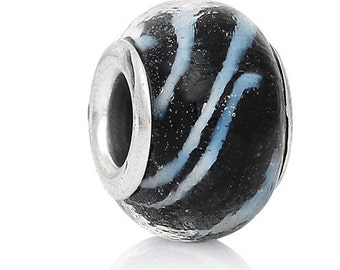 Black Lampwork Glass European Bracelet Bead Round Silver Plated Core White & Gold Swirl Pattern Beads Necklace Craft Supply Jewelry