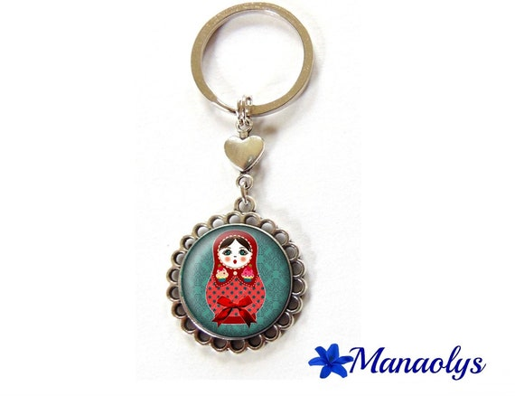 Key ring or bag matryoshka charm red on blue background, 94 glass cabochons