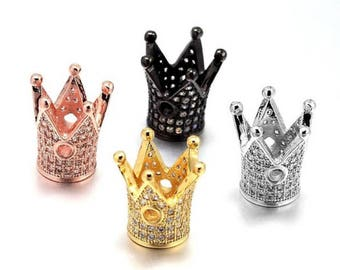 Crown Micro Pave Spacer Beads, Men Bracelet Charm, Men Bracelet Spacer Charm