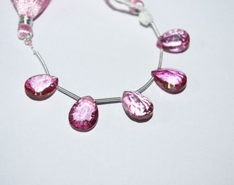 5 pc of Mystic Pink Topaz 10x13 to 10x14 mm concave cut Pear Briolettes (5 pc beads)