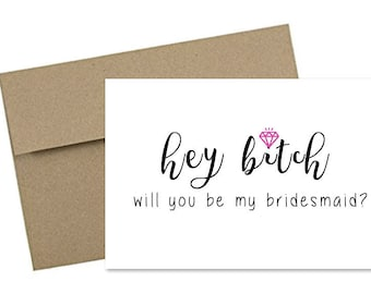 Bridesmaid Card, Cards for Maid of Honor, Maid of Honor Card, Card for Wedding, Card for Bridesmaid, Funny Bridesmaid Card,Bridesmaid Gift