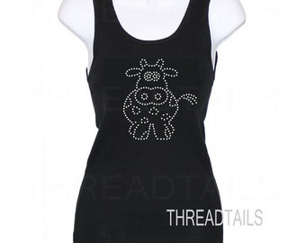 Rhinestone Bling Tank Top with cute Cow design.  Sparkly, bling, tanktops for those who love and collect cows, pet lovers, summer, beach