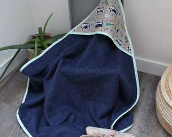 "Hooded towel collection ""Happy Van"" Navy Blue sponge - birthday gift idea"