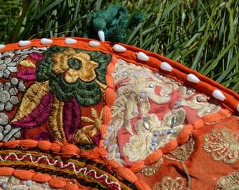 CUSHION COVER Indian PATCHWORK handmade vintage embroidery / gypsy boho bohemian decor / Banjara round decorative orange