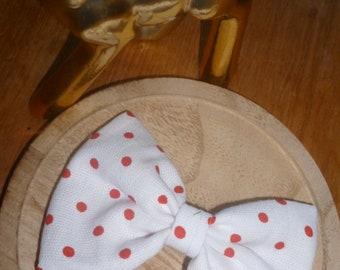 Big white retro red polka dot bow
