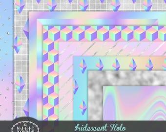 Holograph Digital Paper, Iridescent Digital Paper, Holographic Pattern Texture, Iridescent Foil, Holographic Background Scrapbook Invitation