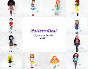 Pattern Super Deal - Dolls, amigurumi crochet doll, crochet doll pattern, amugurumi pattern
