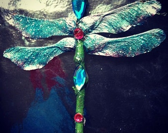 Sparkly Bejeweled Dragonfly Ornaments