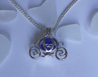Blue sea glass locket - Cinderella locket - carriage locket - beach sea glass jewelry.
