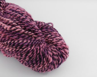 Handspun wool , pink, purple