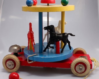 1950s Brio Pull Carousel Made in Sweden