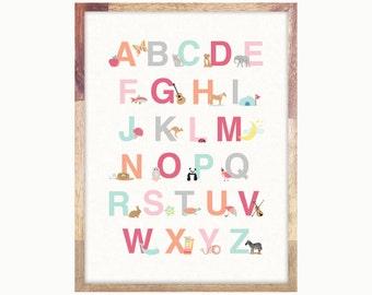 Alphabet Art Print Poster / Pink Alphabet Print / ABC Print / Art For Girls Room / 12x16 / Digital File