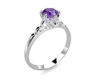 Amethyst Engagement Ring White Gold Amethyst Ring White Gold Engagement Ring Gemstone Engagement Ring Gemstone Ring February Birthstone