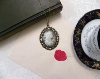 Victorian Lady Grey Cameo Necklace (Bronze) - Princess (Glossy)