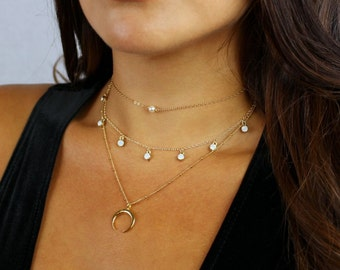 Layering Necklace Set, Layered Necklace Set, Dainty Necklace, Layer Necklace, Crescent Necklace, Charm Necklace, Dlicate Gold Necklaces