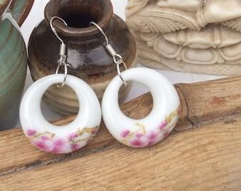 Painted Ceramic Earrings, Boho Earrings m16