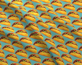 Taco Fabric - Tacos By Kellygilleran - Retro Taco Kitchen Decor Cotton Fabric By The Yard With Spoonflower