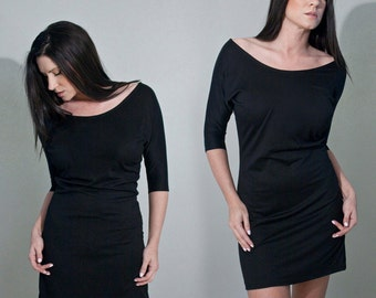 Black Dress | Women's Mini Tunic | Mini Dress | Dolman Sleeve Dresses | Ethically made in our USA loft | L415 & Co Clothing (#415-805)