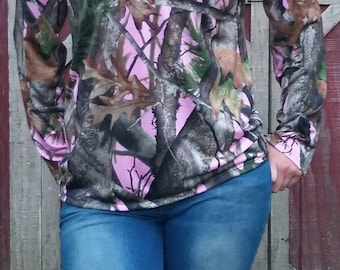 Pink Next Camo Camouflage Long Sleeve Shirt Blouse Top