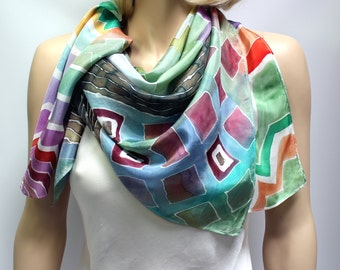 Painted Abstract Silk Scarf  - elegant large square - Fantasy Wild Jacquard Weave Motif  freehand design