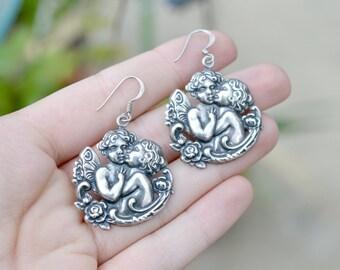 Sterling Silver Angel Cherub Wire Dangle Christmas Earrings