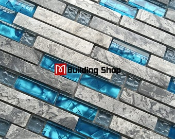 Gray Marble Blue Glass Mosaic Tile Bathroom Shower Wall Stone Mosaics SGMT026 Kitchen Backsplash Subway Tiles
