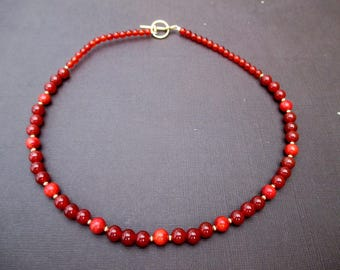 Necklace of carnelian and coral sponge-ref 1139