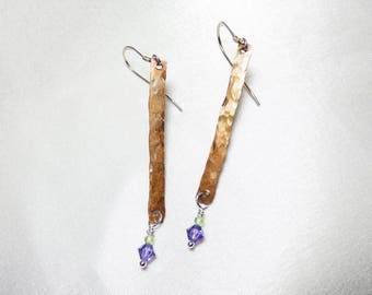 Antiqued Silver Stick Earrings with Tanzanite Swarovski Crystal