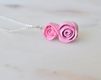 Handmade polymer clay rose necklace - Silver plated - Maid of Honour - Flower girl jewellery - Flower girl gift - Flower girl necklace